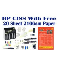 GoColor Empty Continuous Ink Tank Supply System CISS Kit Compatible for HP Inkjet Printer with 20 sheet 4r size paper free