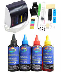 GoColor Empty Continuous Ink Tank Supply System CISS Kit Compatible for HP Inkjet Printer  + 70 Ml Ink 4 Colors