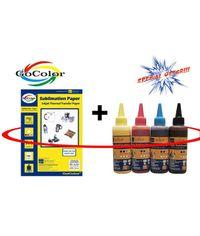 GoColor Sublimation Inkjet Paper 110 GSM A4/100 Sheet + Sublimation Ink 100ml x 4 Colors Combo Pack ( Big Saving )