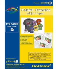 Gocolor TShirt Transfer Inkjet Paper Dark Fabrics A4 / 5 Sheet Packet