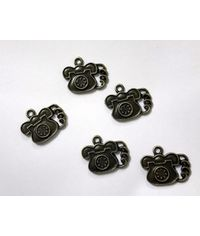 Assorted Vintage Telephone  Metal Charms  (5 pcs)