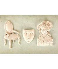Prima Marketing Shabby Chic Treasures Resin Embellishments- Allure 3/Pkg