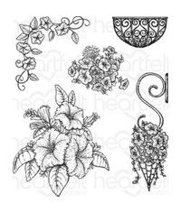 Heartfelt Creations Cling Rubber Stamp Set - Classic Petunia Bouquet 1.25