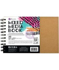 Prima Marketing Mixed Media Spiral Bound A5 Kraft Book - W/32 Sheets