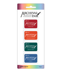Mini Archival Ink Kits - Vermillion, Monarch Orange, Library Green, Cobalt