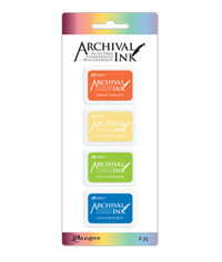 Mini Archival Ink Kits - Bright Tangelo, Chrome Yellow, Vivid Chartreuse, Manganese Blue