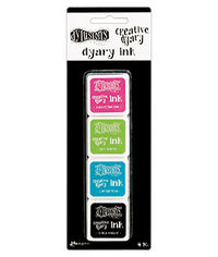 Dylusions Creative Dyary Ink - Black Marble, Bubblegum Pink, Calypso Teal, and Dirty Martini