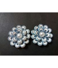 Handmade Quilled Flower - Multi Color - White & Light Blue - Large