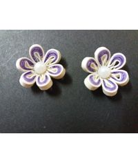 Handmade Quilled Flower - Multi Color - Purple & White - Small