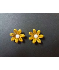 Handmade Quilled Flower - Single Color - Mustard Yellow - Small