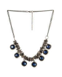 Metallic Blue Stoned Necklace