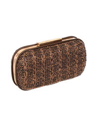 Woven Knot Brown Clutch