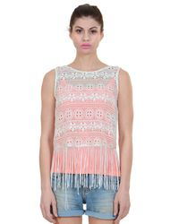 Lace Crop Top With Tassel