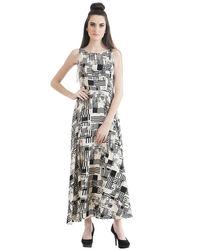 Geo Fit & Flare Maxi Dress