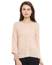 Peach Quarters Sleeves Top