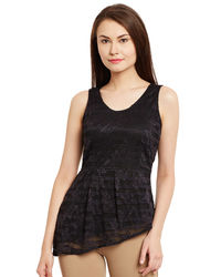 Noir Assymetric Lace Top