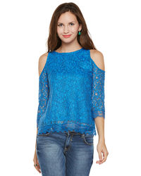 Azure Cold Shoulder Top
