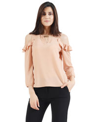 Beige Cold Sholder Top