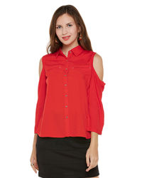 Venetian Red Cold Shoulder Top