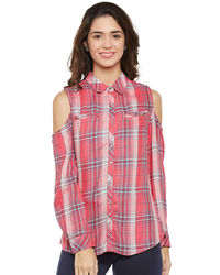 Pink Check Cold Shoulder Shirt