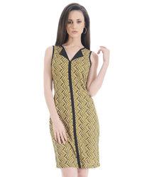 Sun Split Collar Lycra Shift Dress