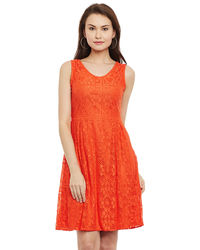 Tangerine Short Lace Dress