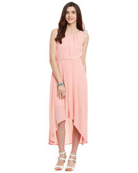 Soft Pink Hi-Lo Pleated Dress