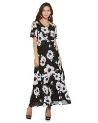 Noir Shoulder Cut Maxi Dress