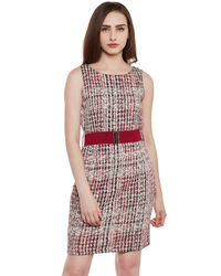 Wine Colour Patterned Short Dress