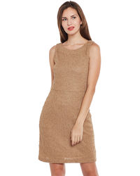 Tan Textured Short Dress