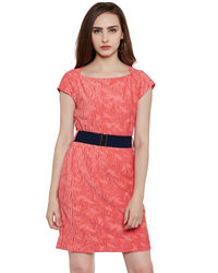 Coral Self Patterned Short Dress