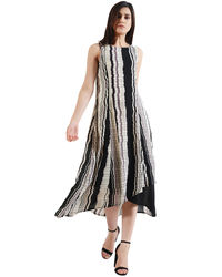 Patterned Striped Hi-Lo Maxi Dress