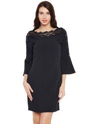 Noir Bell Sleeves Short Dress