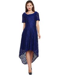 Midnight Blue Hi-Lo Lace Dress