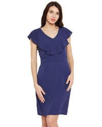 Cobalt Ruffle Neck Short Dress