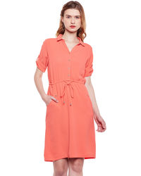 Tangerine Front Buttoned Dress