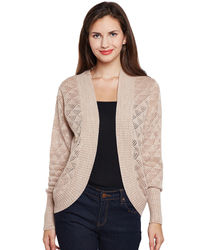 Beige Full Sleeves Shrug