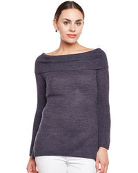 Charcoal Grey Off Shoulder Sweater