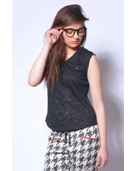 Black Sleeveless Top with Pockets
