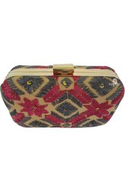 Handmade Phulkari Box clutch- Multicolor -1