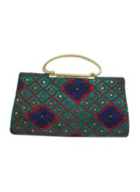 Phulkari Metal Handle Handbag