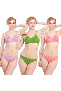 Glus Lady Care Bra And Bikini Set , (Pack Of 3).