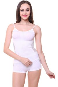 Sleek Camisole Slip & Seamless Boy Shorts Set, Color- White
