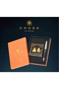 Cross Calais Black Ball Pen with 24 KT Ganesh and Lakshmi Table Frame