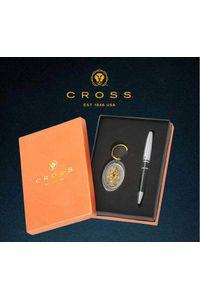 Cross Calais Black Ball Pen with 24 KT Ganesha key Chain