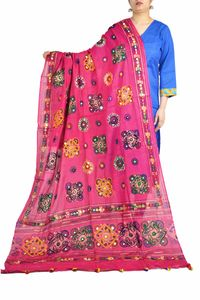 Aariwork Cotton Kutchi Mirror Work Red Dupatta