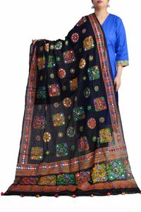 Aariwork Cotton Kutchi Mirror Work Black Dupatta