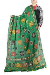 Aariwork Cotton Kutchi Mirror Work Green Dupatta