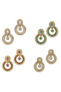 YouBella Combo of Four Designer Traditional Earrings