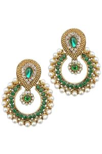 YouBella Designer Green Traditional Pearl Earrings
